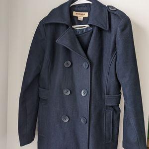 Navy blue women's pea coat